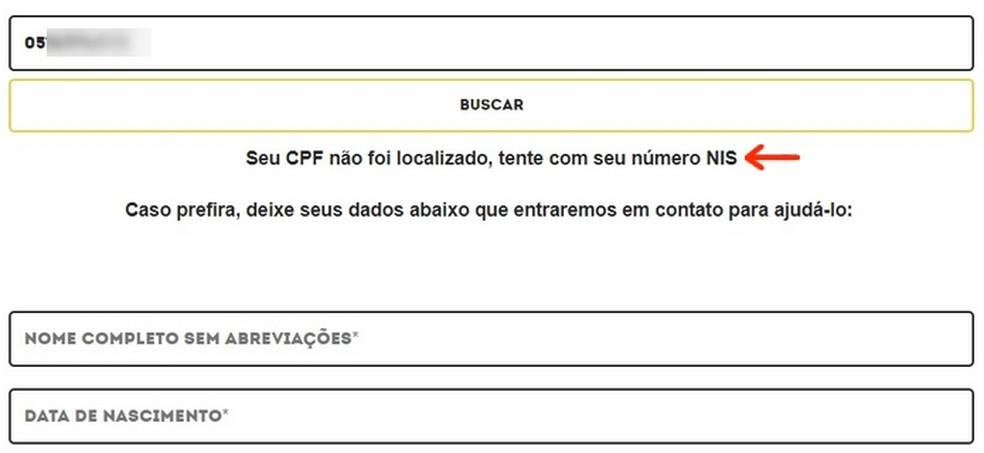 Mensagem de CPF não encontrado como beneficiário do governo (Foto: Reprodução/Raquel Freire)