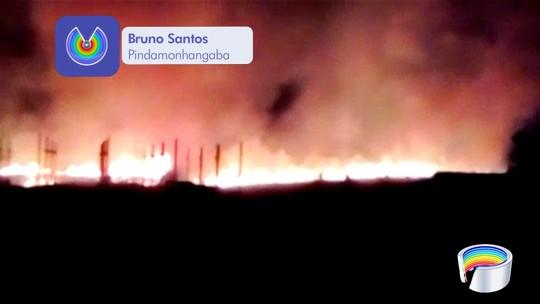 Incêndio atinge área de mata às margens da Dutra em Pindamonhangaba