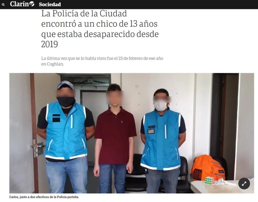 Caso do garoto Carlinhos foi acompanhado pela imprensa argentina — Foto: Reprodução/Clarín