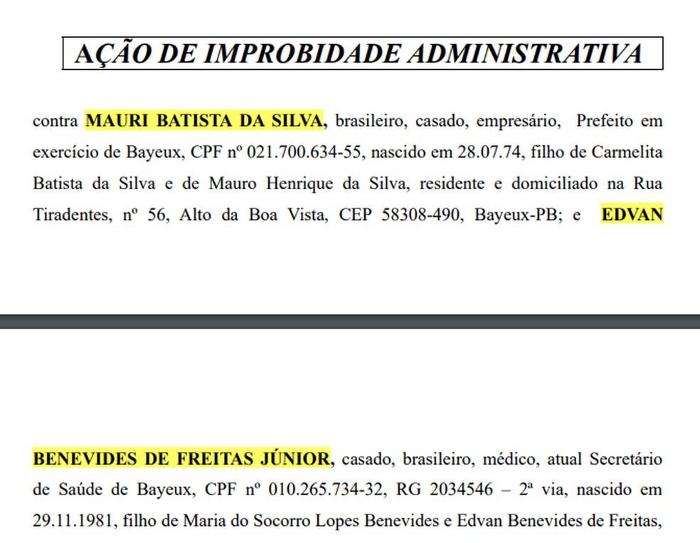 Gestores da cidade de Bayeux são denunciados por improbidade administrativa, pelo MPPB — Foto: Divulgação/MPPB