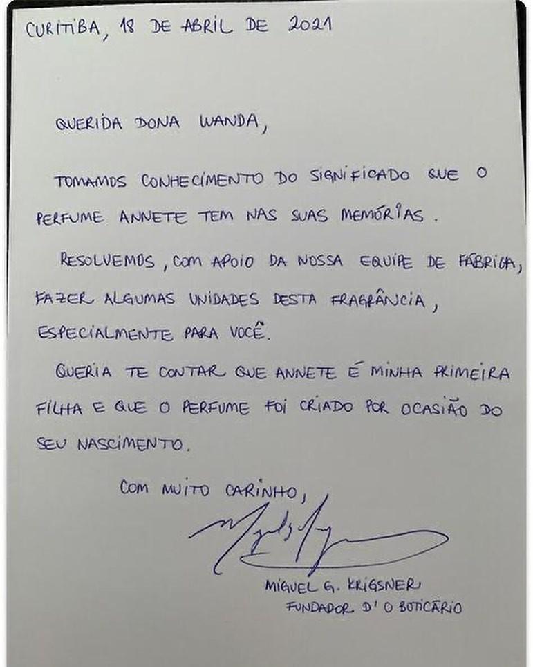 Dono da marca escreveu para Dona Wanda (Foto: Reprodução/Instagram)