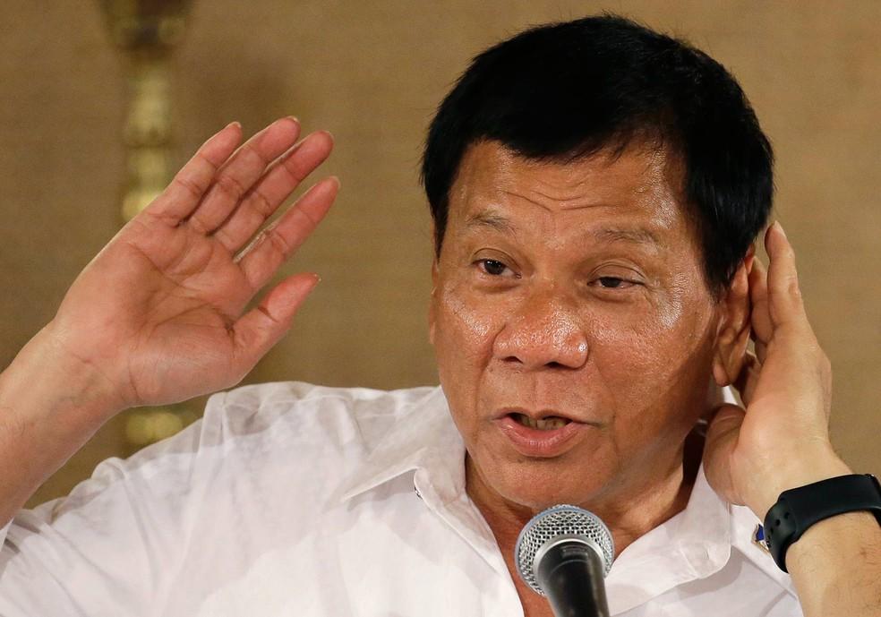 O presidente das Filipinas, Rodrigo Duterte, é conhecido pelos comentários polêmicos (Foto: Aaron Favila/AP)