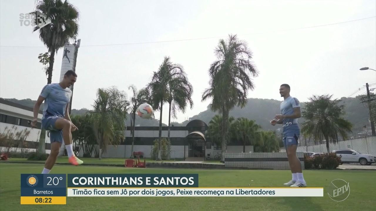 Corinthians fica sem Jô por dois jogos e Santos recomeça na Libertadores