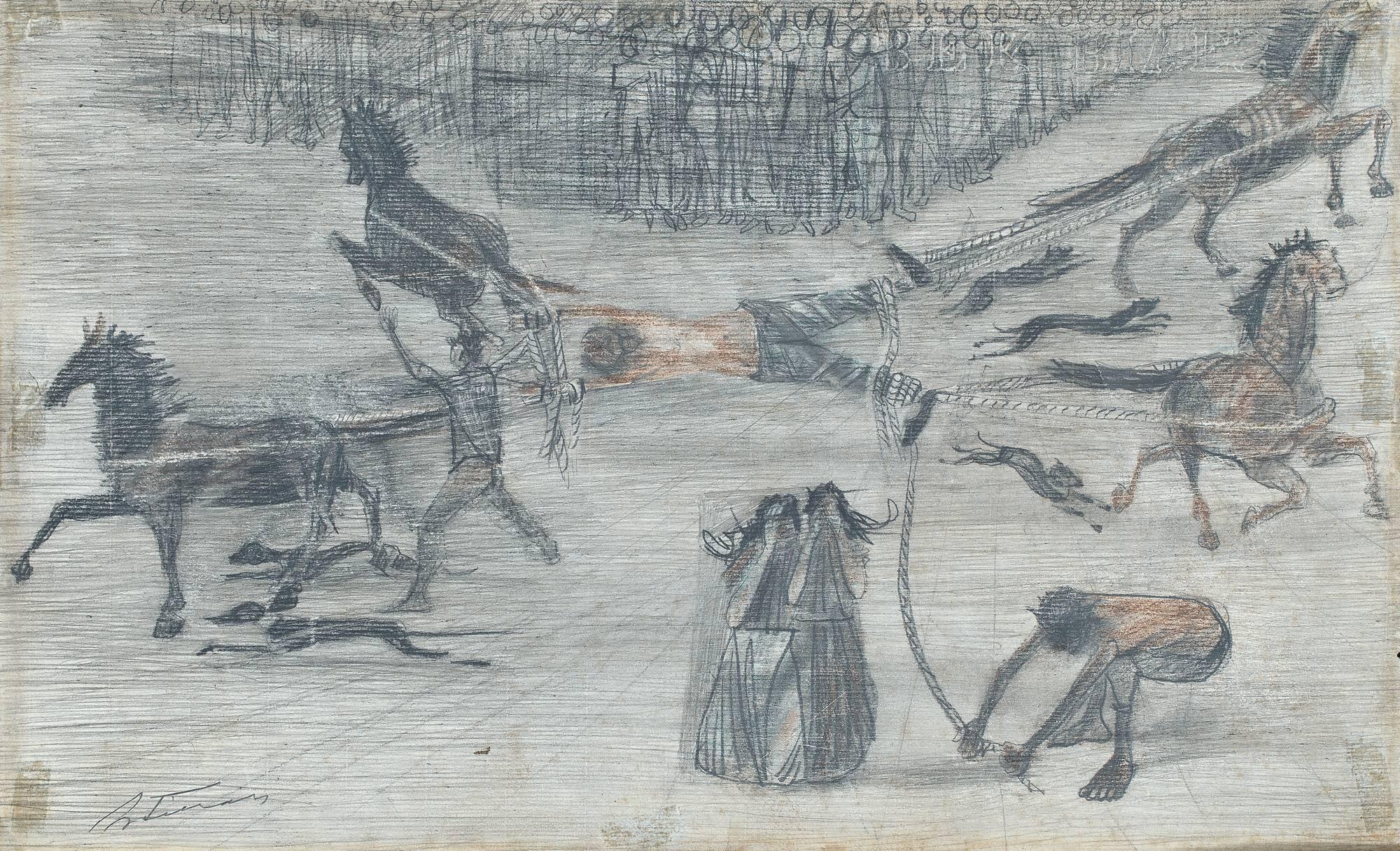 """Candido Portinari - Esboço. Desenho a grafite.""""Esquartejamento de Felipe dos Santos"""""""