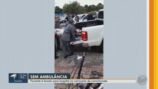 Sem ambulância, vítima de acidente é levada para hospital na carroceria de caminhonete; vídeo