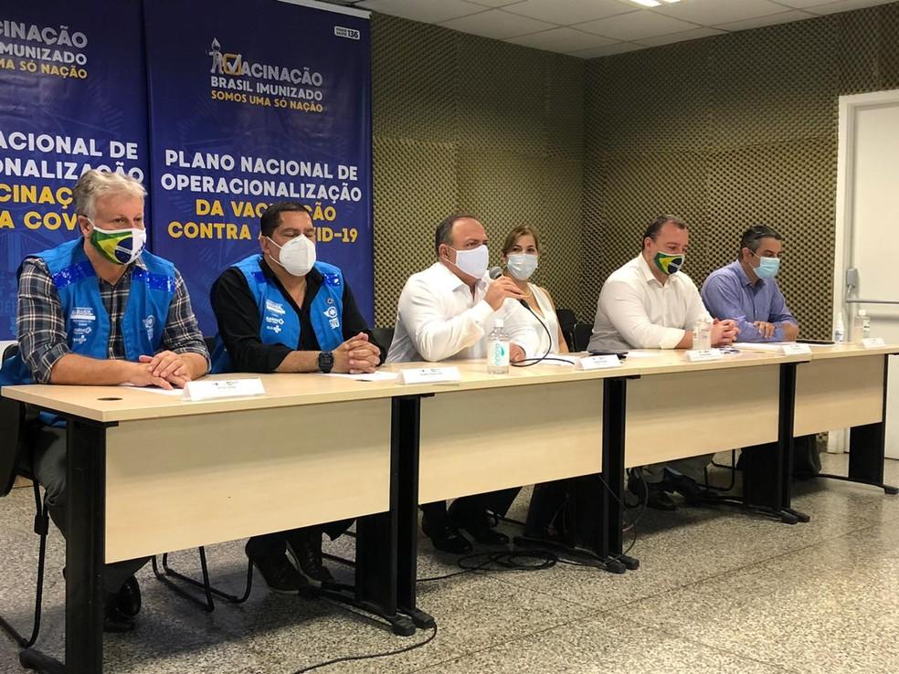 Pazuello fez pronunciamento em Manaus nesta quarta-feira — Foto: Matheus Castro/G1