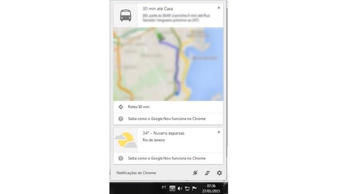 Cards do Google Now ativos na área de trabalho (Foto: Reprodução/ Raquel Freire)