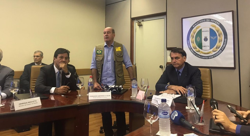 O presidente Jair Bolsonaro participou de reunião no Ministério da Defesa sobre a repatriação de brasileiros em Wuhan — Foto: Guilherme Mazui/G1