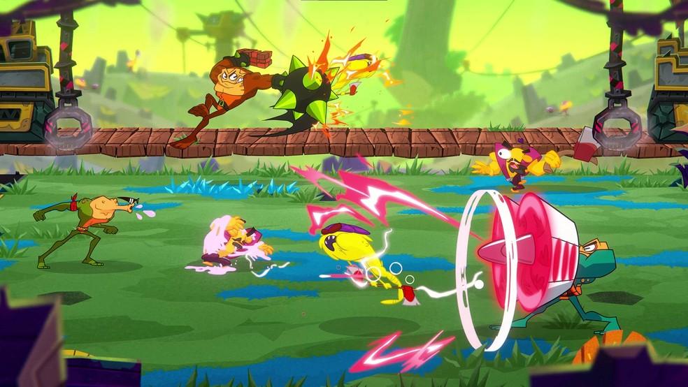 Os personagens de Battletoads continuam se transformando de fomas cômicas durante os combos — Foto: Reprodução/Microsoft