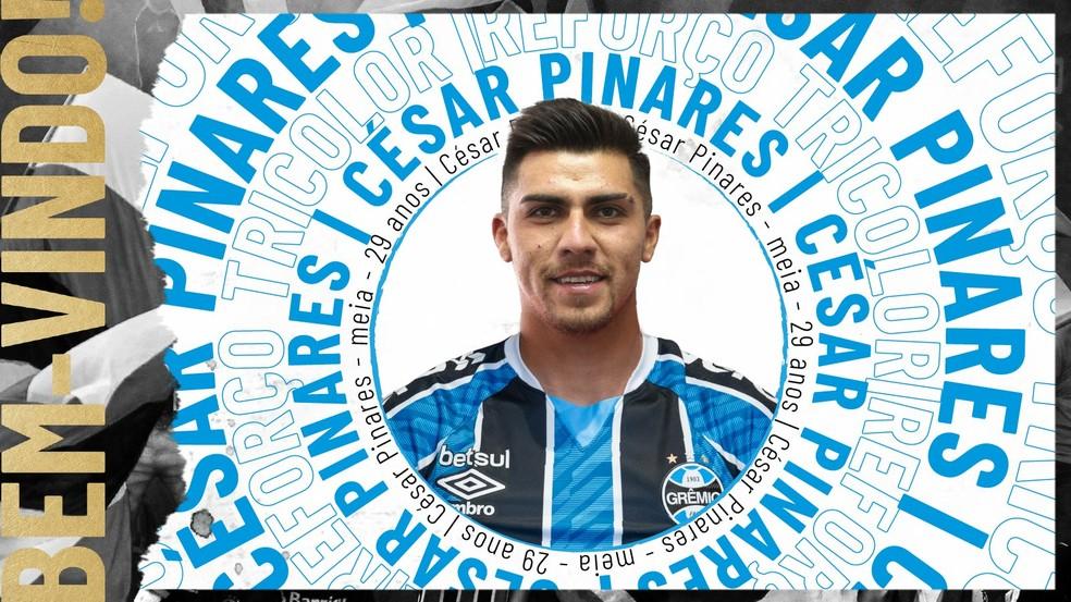 César Pinares é novo reforço do Grêmio — Foto: Reprodução