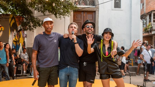 Anitta e Pharrell Williams no 'Caldeirão'! Veja tudo o que rolou no show em comunidade do Rio