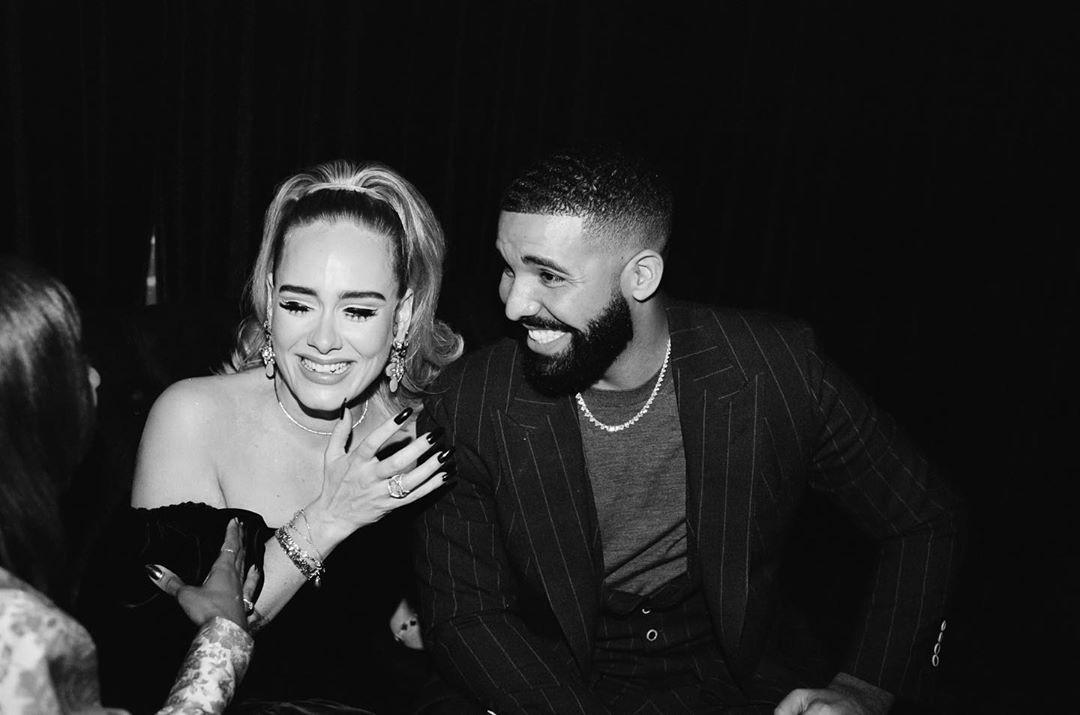 Adele e Drake na festa de aniversário do rapper (Foto: Reprodução/Instagram)
