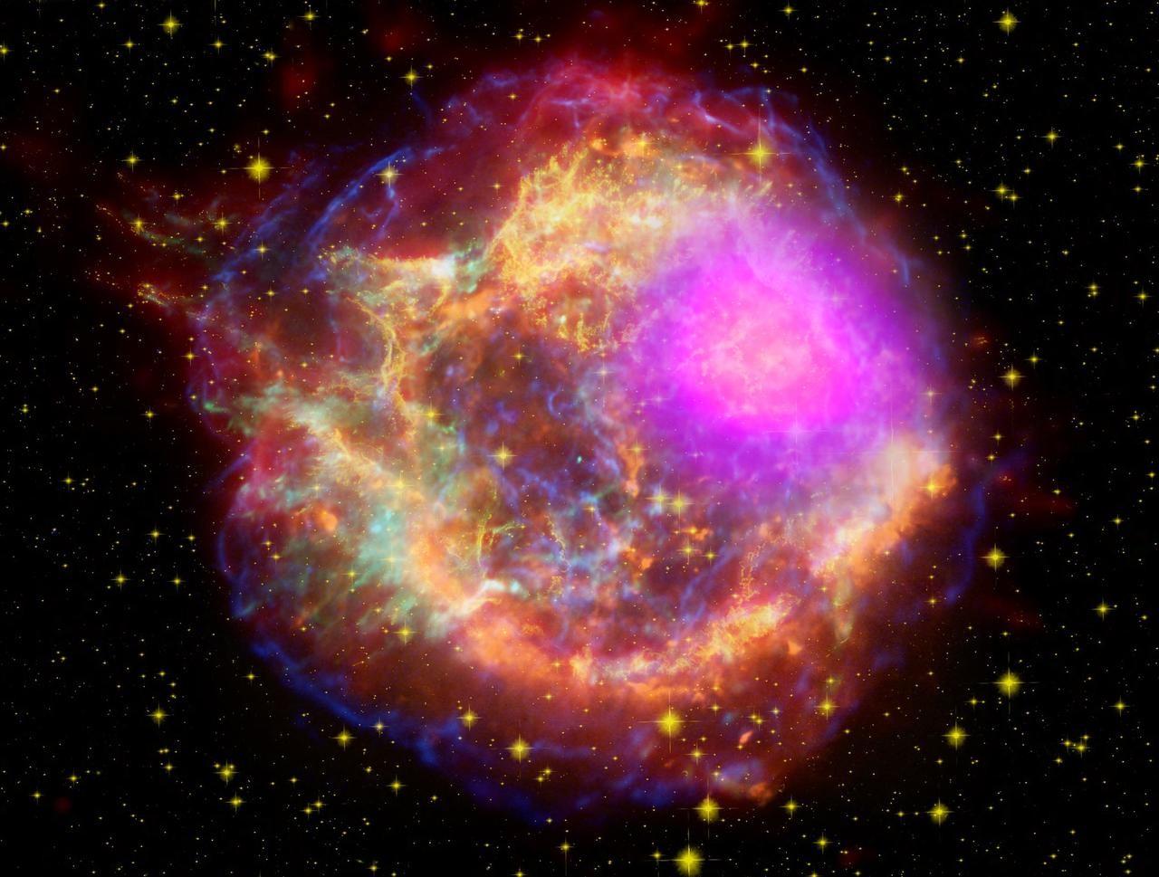Essa imagem, capturada pelo Telescópio Fermi Gamma-ray da NASA, mostra a supernova Cassiopeia A, que emite radiação que é um bilhão de vezes mais energética do que a luz visível.  (Foto: NASA Goddard)