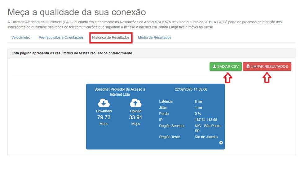 Depois de fazer o teste, explore as demais opções da ferramental, como o histórico — Foto: Reprodução/Brasil Banda Larga