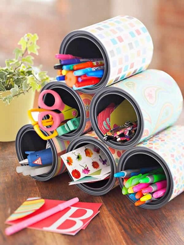 Organizadores lata decorada (Foto: Pinterest)