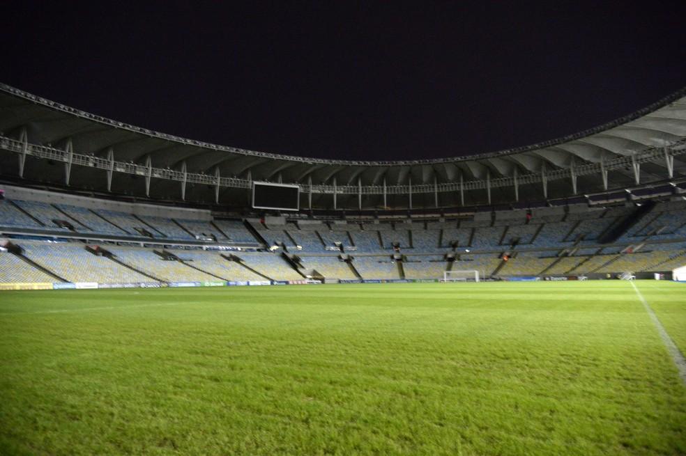 Maracanã vazio para Bangu e Flamengo. A partir do dia 10 de julho, 1/3 do estádio poderá ser ocupado — Foto: André Durão / GloboEsporte.com