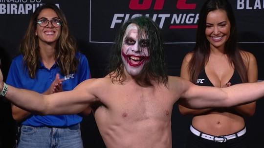 Em pesagem empolgante no UFC São Paulo, Markus Maluko brilha com fantasia de Coringa
