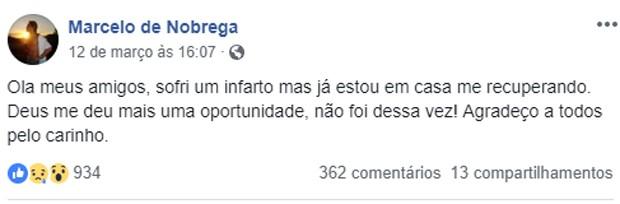 Marcelo de Nóbrega tranquila fãs após infarto (Foto: Reprodução/Facebook)