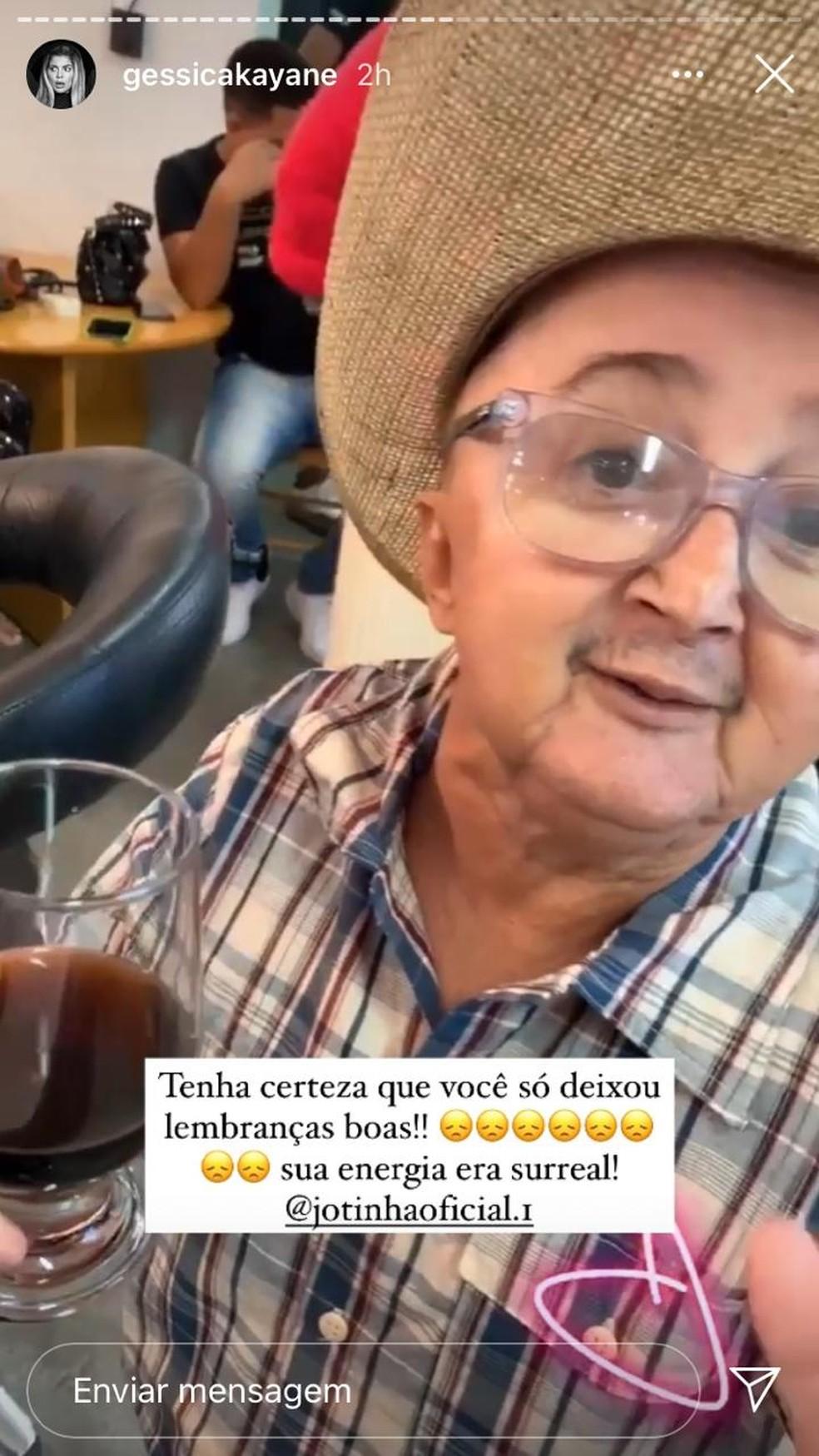 Gkay fez stories lamentando a morte de Jotinha  — Foto: Reprodução/Redes sociais