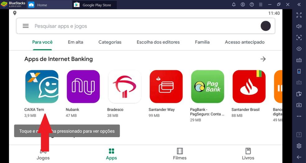 Selecione o aplicativo CAIXA Tem na loja de apps — Foto: Reprodução/Guilherme Ramos
