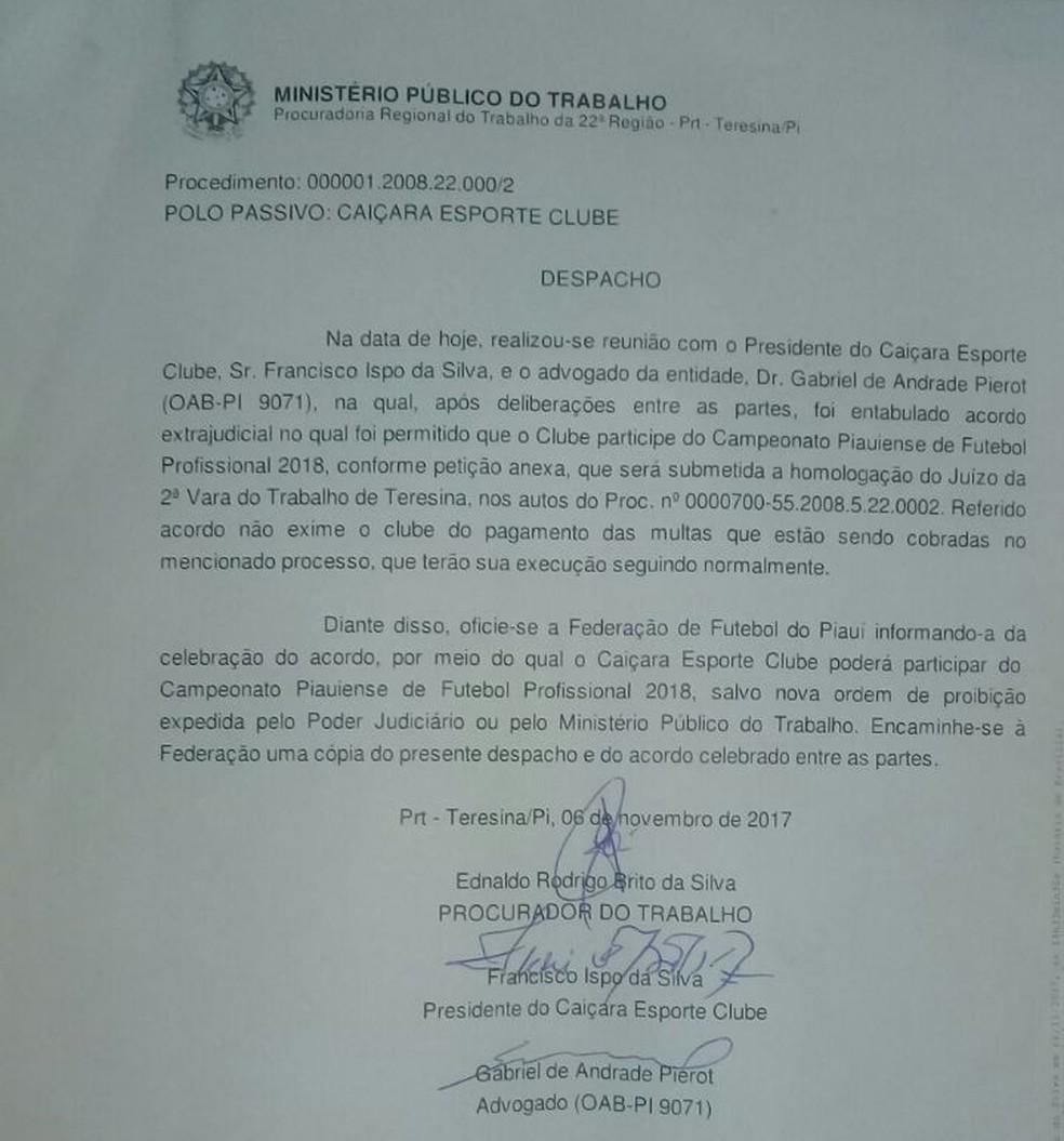 Justiça autoriza retorno do Caiçara ao futebol profissional (Foto: Reprodução)