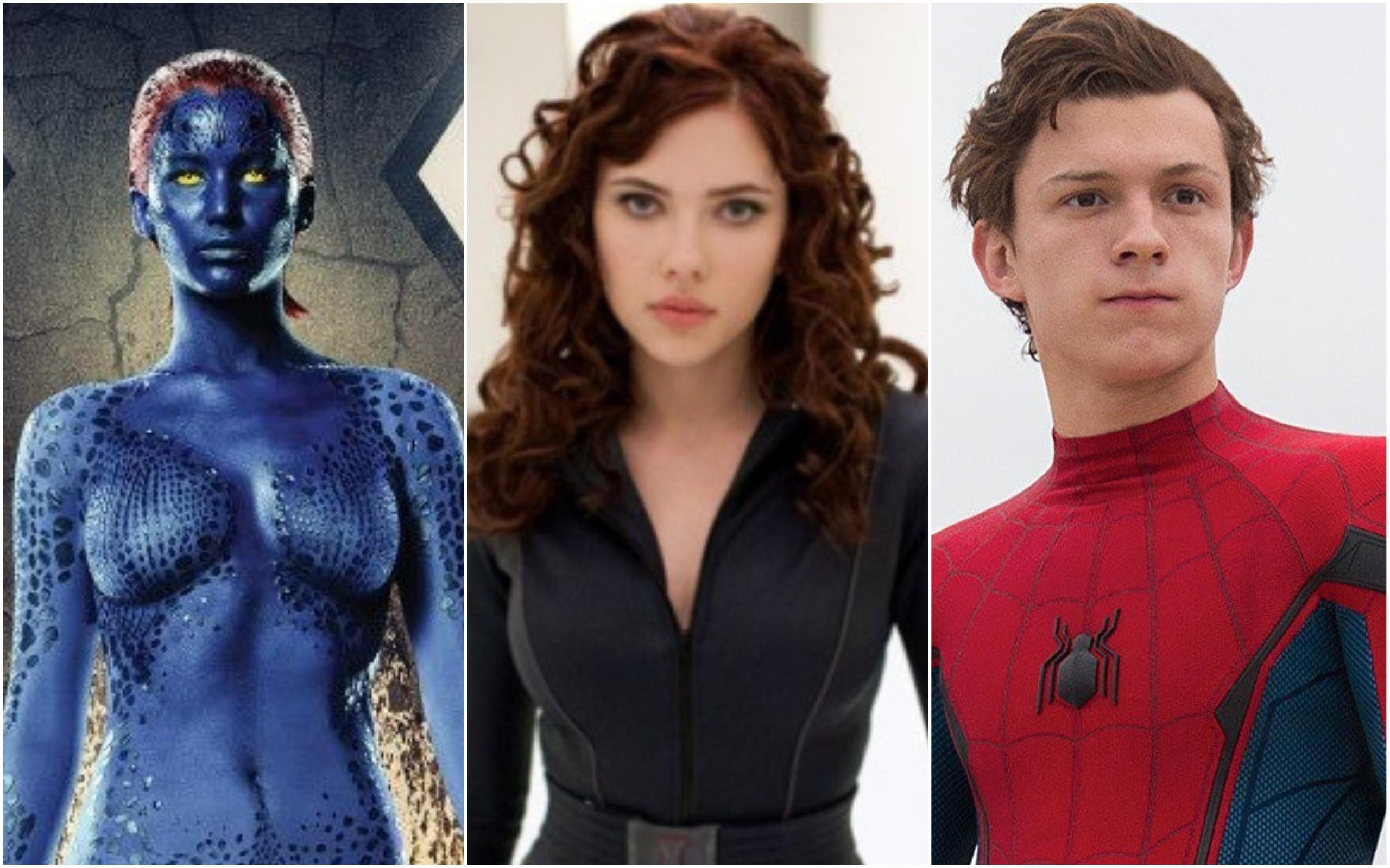 Jennifer Lawrence como Mística, Scarlett Johansson como Viúva Negra, Tom Holland como Homem-Aranha (Foto: Divulgação)