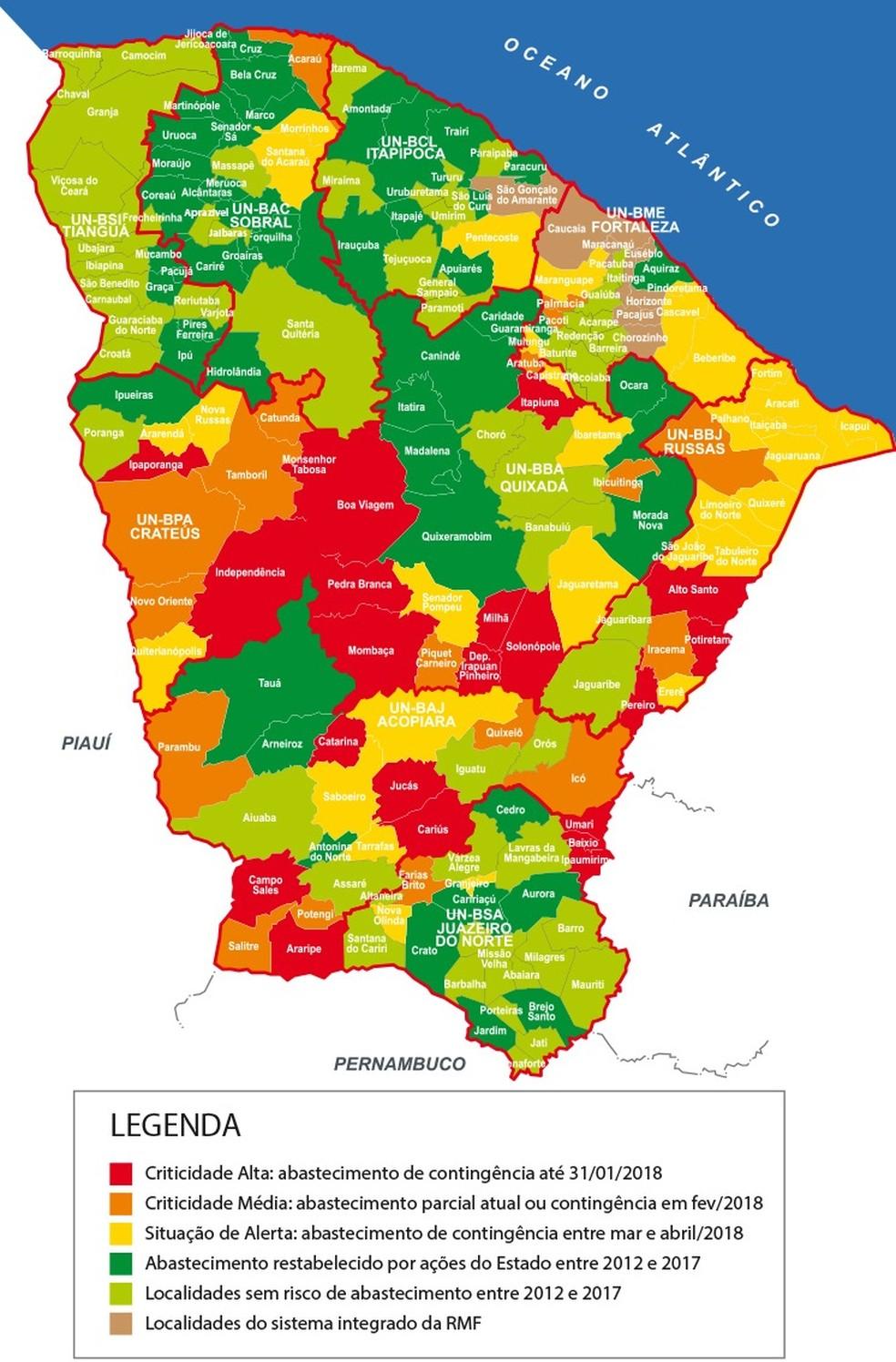 Situação das cidades do Ceará em relação ao abastecimento de água (Foto: Governo do Estado/Reprodução)