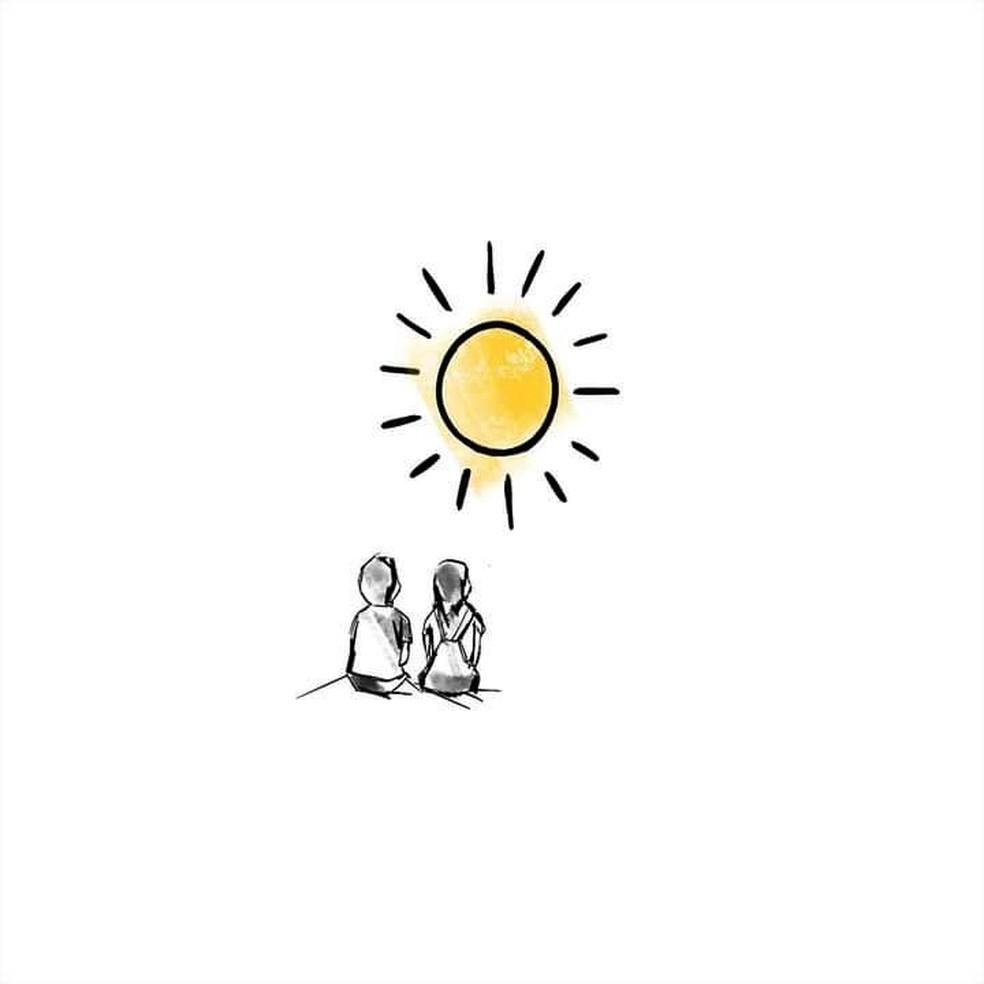 Capa do single 'Lugar ao sol', de Sandy Leah e Lucas Lima — Foto: Ilustração de Sabrina Conde