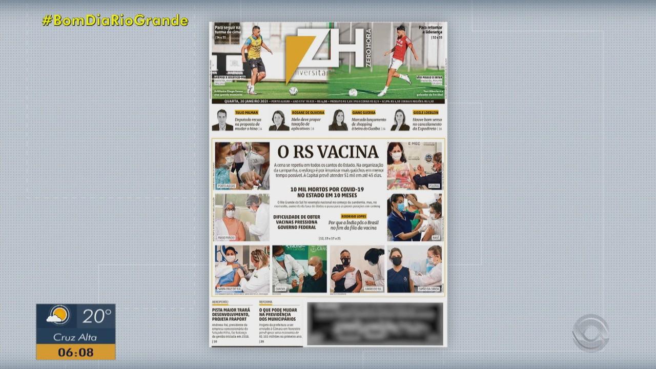 Confira as principais capas dos jornais do RS desta quarta-feira (20)