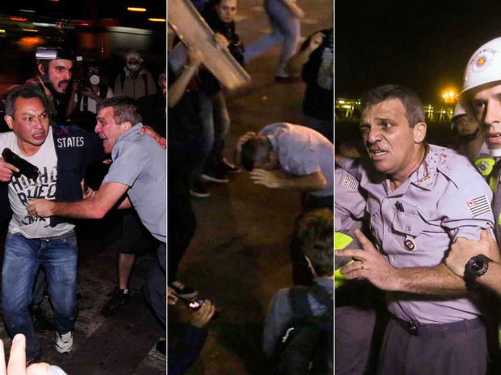 Sequência mostra agressão a coronel Reynaldo Rossi no Centro de SP (Foto: Iacio Teixeira/Coperphoto/Estadão Conteúdo e Nelson Antoine/Fotoarena/Estadão Conteúdo)