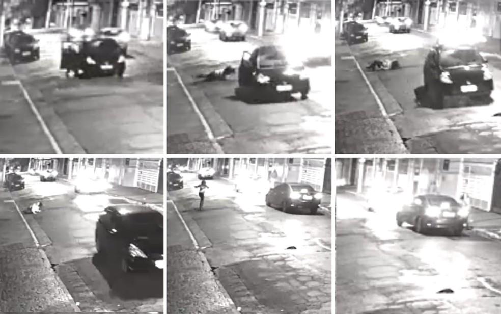Mulher abriu a porta do carro e saltou com veículo em movimento; em seguida, ela se levantou e pediu ajuda a outro motorista (Foto: Reprodução/Câmeras de segurança)