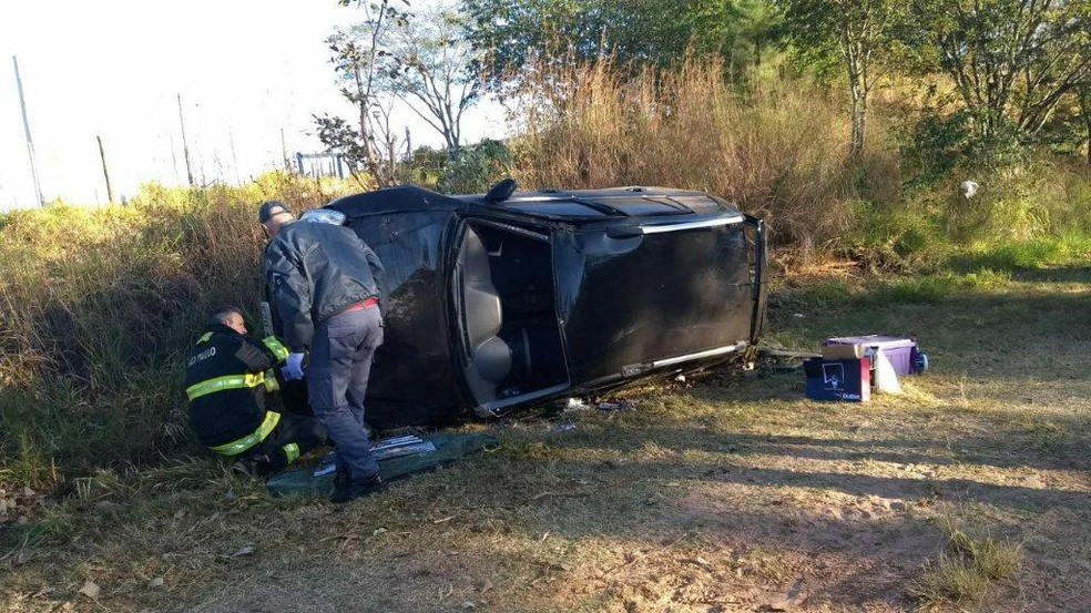 Carro capotou na rodovia SP-294 em Quintana (Foto: Corpo de Bombeiros/Divulgação)