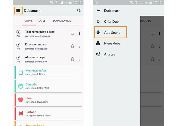 Acesse o menu do Dubsmash para adicionar um áudio (Foto: Reprodução/Barbara Mannara)