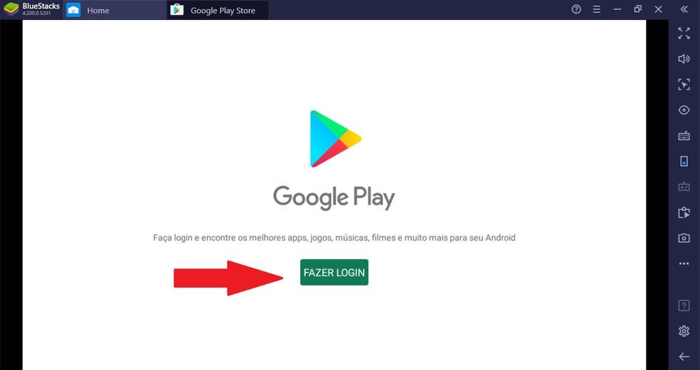 Faça login na Google Play Store — Foto: Reprodução/Guilherme Ramos