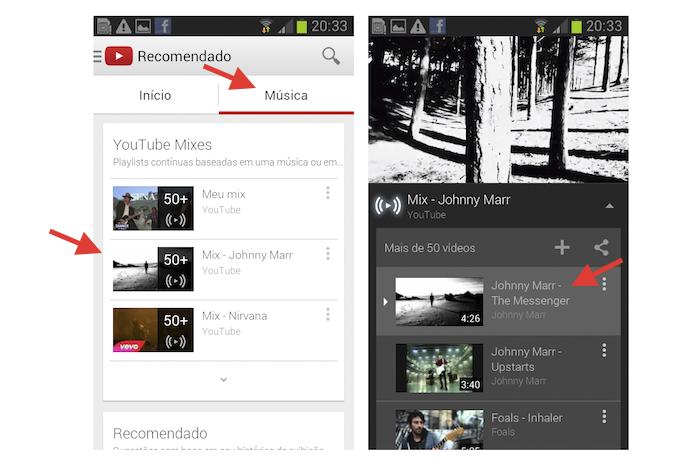 Acessando as YouTube Mixes do aplicativo do YouTube para Android (Foto: Reprodução/Marvin Costa)