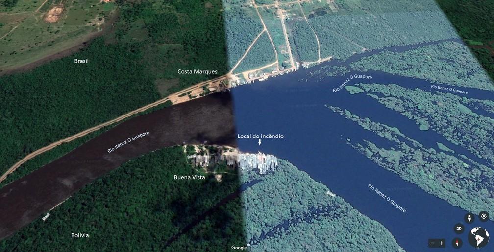 Mapa mostra área onde ocorreu o incêndio que destruiu comércio e casas na segunda-feira, 24.  — Foto: Google Earth/Reprodução