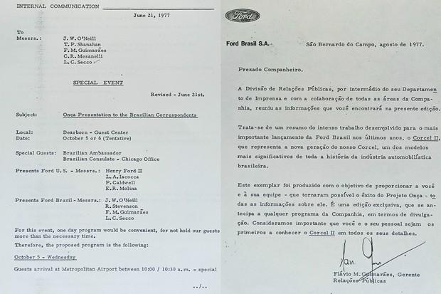 Só para complicar um pouco mais a matriz pediu que fosse embarcado um Corcel II para os Estados Unidos para exibição a correspondentes brasileiros por lá (Foto: Acervo MIAU)