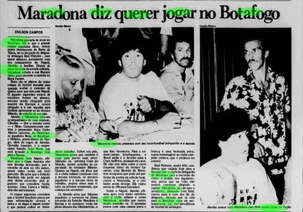 Imprensa noticia interesse do Botafogo em Maradona — Foto: Reprodução