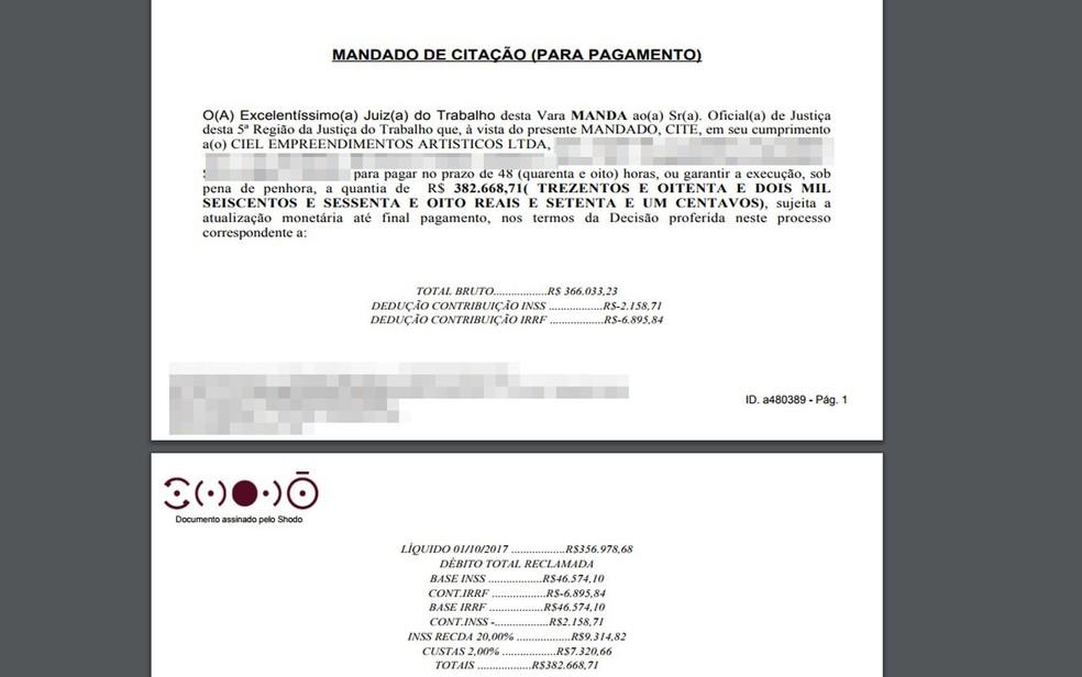 Mandado de citação de pagamento foi de mais de R$ 380 mil (Foto: Reprodução/ )