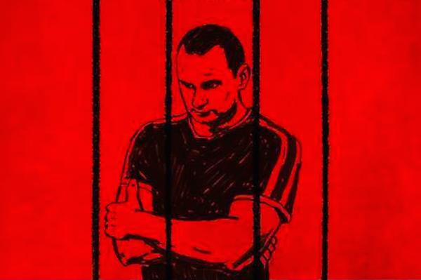 O diretor ucraniano Oleg Sentsov retratado em uma arte pedindo sua liberdade (Foto: Reprodução)