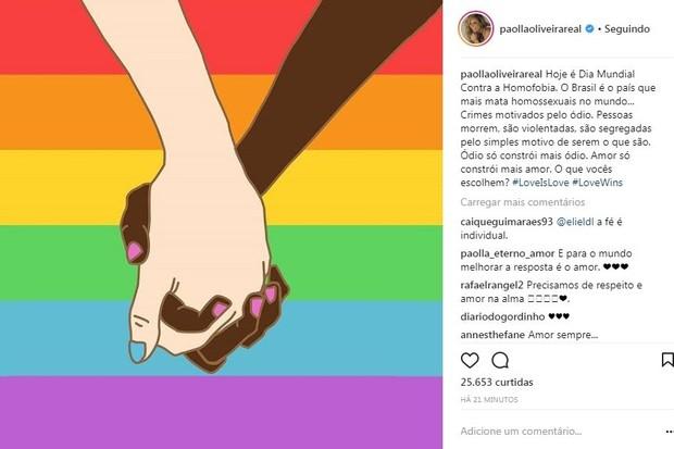 Post de Paolla Oliveira sobre homofobia (Foto: Reprodução/Instagram)