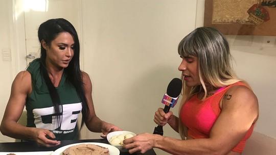 Gracyanne Barbosa recebe Carol Paixão com banquete fitness: 'Tem uma variedade muito grande de ovo'