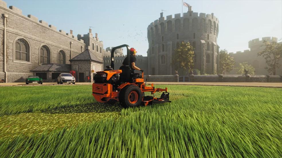 Lawn Mowing Simulator traz uma experiência realista de cuidar de gramados no interior da Grã-Bretanha — Foto: Reprodução/Steam