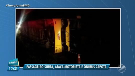 Surto de passageiro pode ter causado capotamento de ônibus com um morto e nove feridos