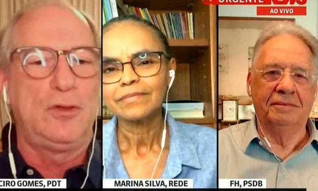 Ciro Gomes, Marina Silva e Fernando Henrique Cardoso em entrevista à GloboNews