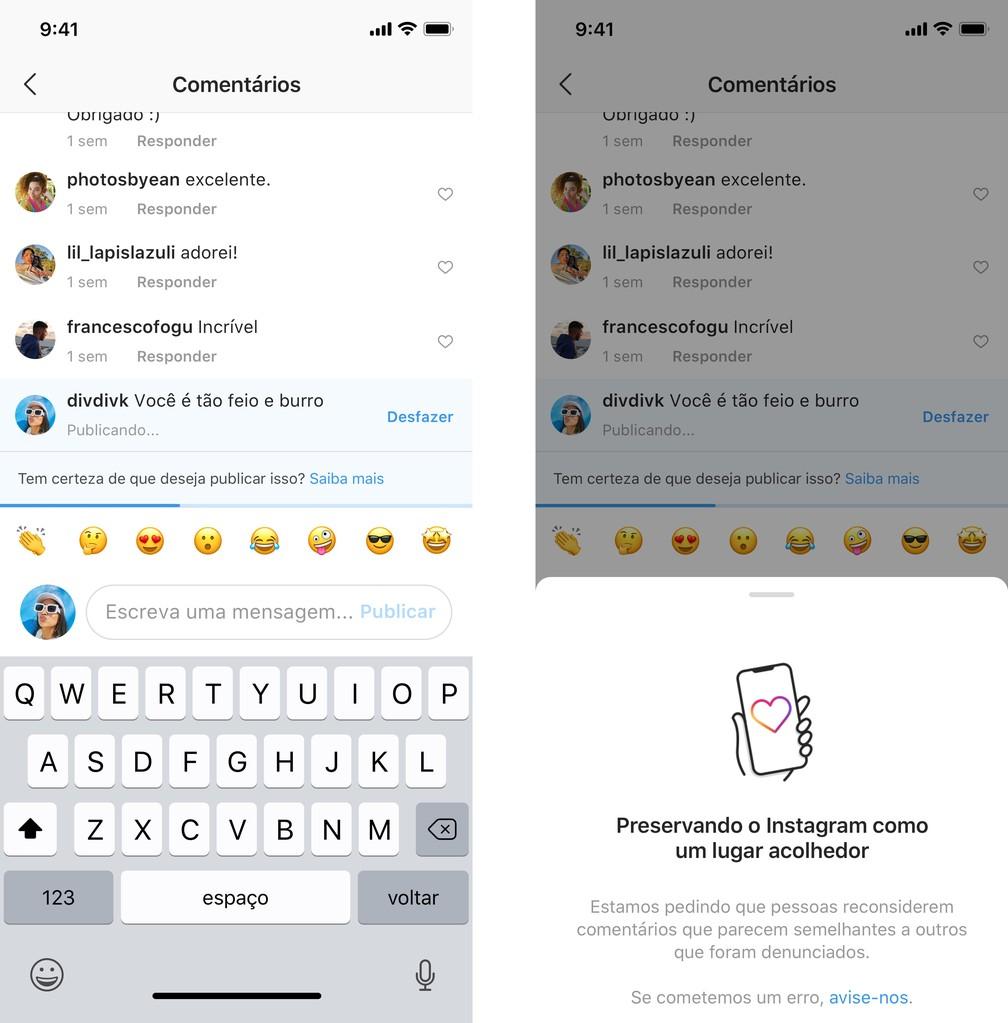 Novo recurso dará um alerta a usuário que fizer comentários ofensivos nas publicações de outra pessoa — Foto: Reprodução/Instagram