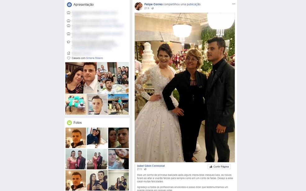 Noivo Felipe Correa compartilhou postagem da cerimonialista após acidente com helicóptero em Vinhedo (Foto: Reprodução/Facebook)