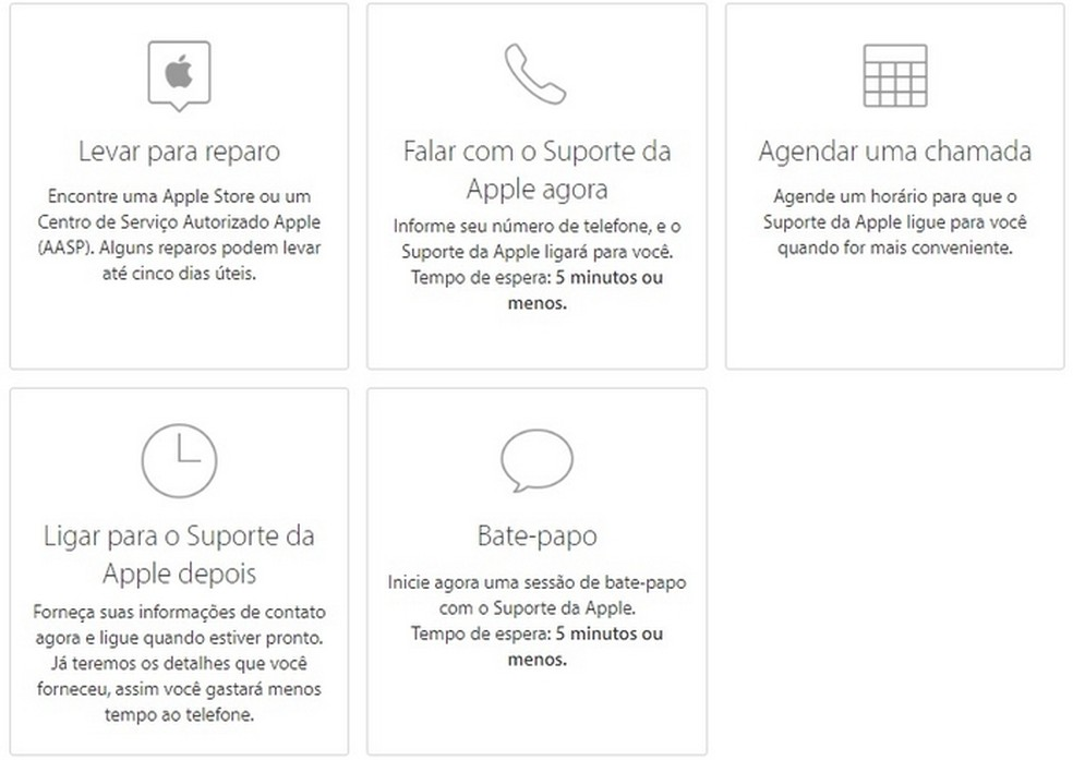 Página de suporte da Apple para agendamento da troca de bateria do iPhone — Foto: Reprodução/Apple