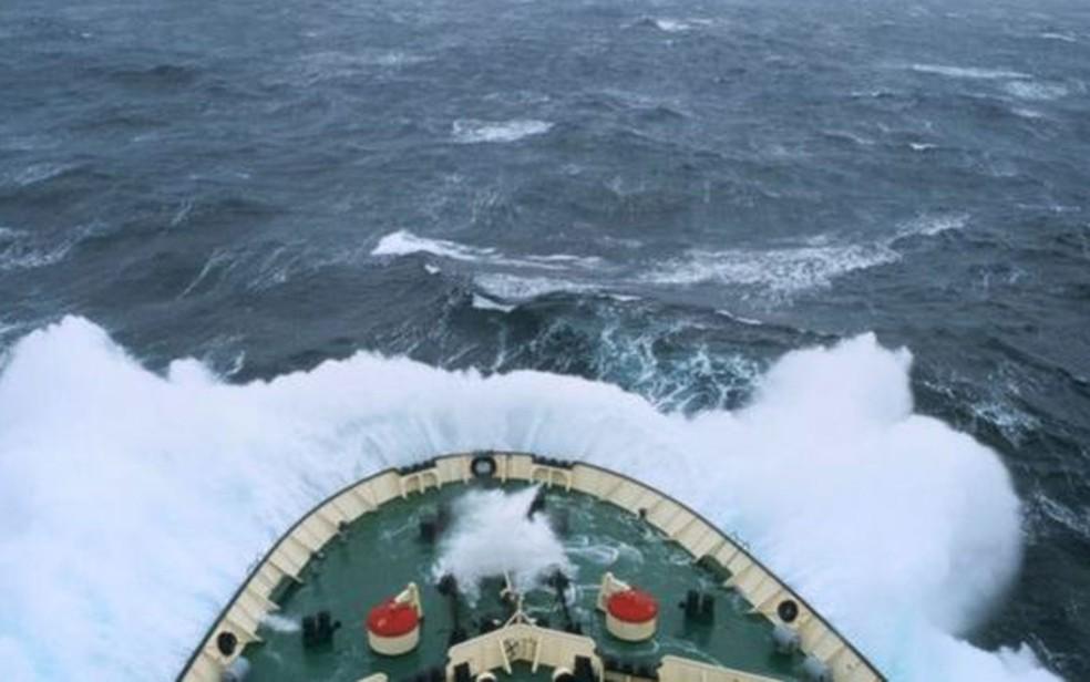 Passagem de Drake é uma região marítima que divide a Antártida da parte sul da América do Sul — Foto: Getty Images/BBC