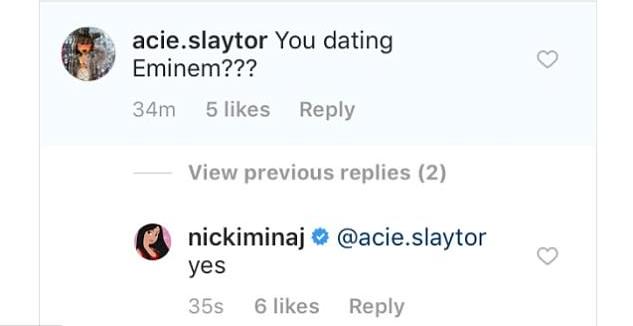 A declaração de Nicki Minaj de que estaria namorando o rapper Eminem (Foto: Twitter)